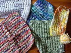Modèle facile et gratuit de lavettes au tricot. En français.