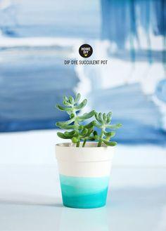 Dip dyed succulent pot ★ Epinglé par le site de fournitures de loisirs créatifs Do It Yourself https://la-petite-epicerie.fr/fr/261-peintures-tous-supports ★
