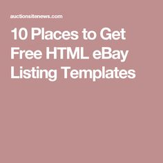 10 Places to Get Free HTML eBay Listing Templates