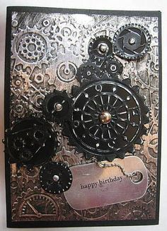 Use aluminum foil in embossing folder then colour with alcohol inks!   masculine card