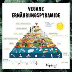 Die vegane Ernährungspyramide von @ecodemy.de besteht aus 7 Ebenen & 5 Lebensmittelgruppen: Gemüse Obst Getreide Hülsenfrüchte sowie Nüsse&Samen Die Nahrungsmittel ganz unten solltest du reichlich verzehren die ganz oben nur in Maßen  1. Ebene: Bewegung  Damit dein Körper richtig funktionieren kann ist es wichtig dass du dich täglich bewegst   2. Getränke Genug zu trinken ist die Grundlage für jede gesunde Ernährung! 1-2 Liter Wasser & Tees solltest du pro Tag unabhängig von anderen… Vitamin B12, Snacks, Tees, Grains, Food Items, Healthy Food, Alcohol, Fruit, Appetizers