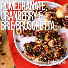 Jun 2019 - Make this simple festive appetizer for your holiday guests. Toasted baguette slices with creamy, melted brie are topped with an orange-cranberry-pomegranate mixture--each bite delivers an explosion of flavor and texture! Healthy Appetizers, Appetizer Recipes, Simple Appetizers, Bread Appetizers, Healthy Recipes, Clean Eating Snacks, Healthy Eating, Bruschetta Recipe, Snacks Für Party