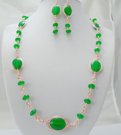 Green Onyx Jewelry Set, Green Onyx Necklace and Earrings, Green Onyx Stone Beaded Necklace Set, Green Onyx Jewelry, Rose gold  Jewelry Set by K8tieSparkles on Etsy