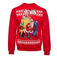 DC Comics Christmas Sweaters For Days Nerd Tshirts, Ugly Christmas Jumpers, Ugly Sweater Party, Red Suit, Dc Comics, Batman, Comic Books, Graphic Sweatshirt, Superhero