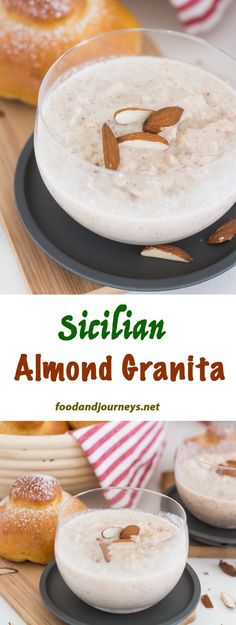 Almond milk | Snack | Italian snack | Summer Snack. This refreshing Sicilian snack is what you need for summer! Almond Granita is made by blending whole almonds, sugar and almond milk together. Freeze. Scrape. Enjoy!
