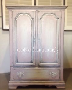 Girls armoire in a beautiful ballet pink color Annie Sloan chalk paint Antoinette