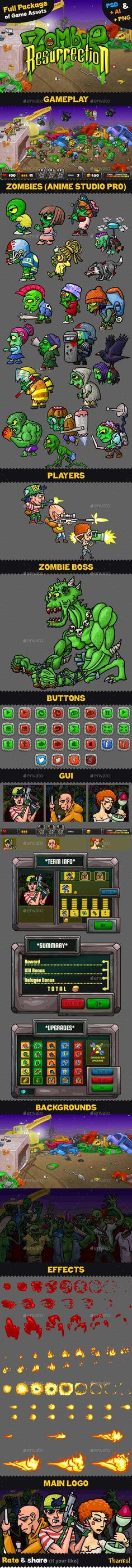 Game Assets for Zombie Resurrection by Muscle-SS | GraphicRiver Free Game Assets, Kit Games, Graphics Game, Ios, Iphone Logo, Android, Game Background, Information Graphics, Animation