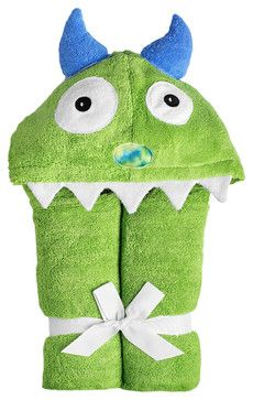 Monster Hooded Towel, Green contemporary-kids-towels