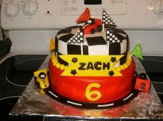 go kart themed cake By alison35 on CakeCentral.com Go Kart Party, Race Party, Birthday Parties, Birthday Cakes, Birthday Ideas, Go Kart Racing, Party Themes, Party Ideas, 6 Year Old Boy