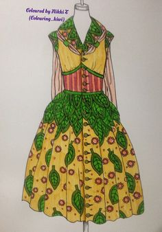 From collette Fergus dress colouring book done with felt pens Colouring, Coloring Books, Vintage Clothing, Vintage Outfits, Kiwi, Pens, Summer Dresses, Country, Disney