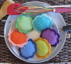 6 Scour Flower Set Crochet Dish Scrubbie Pad by BillyGoatsBuffet