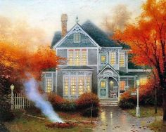 Autumn painting by Thomas Kinkade, with bright red and orange leaves and burning pile of leaves