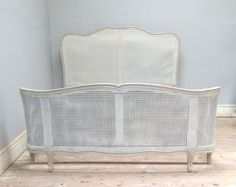 Vintage Cane Corbeille French Bed / Curved / painted furniture / Frenchfinds.co.uk