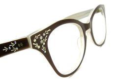 Vintage Brown Rhinestone Cats Eye Eyeglasses by Vintage50sEyewear