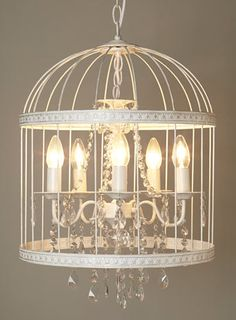 BHS // Vintage // Robyn Cage Chandelier // White bridcage chandelier pendant light.  Love the birdcage chandelier (don't care for fake candles), but lighting needs to tie into existing farmhouse pendent fixtures in kitchen.