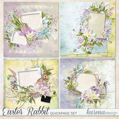 Digital Scrapbooking, Rabbit, Floral Wreath, Easter, Wreaths, Shop, Collection, Design, Decor