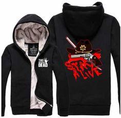 The walking dead thick fleece hoodie with zipper daryl dixon printed Fleece Hoodie, Hooded Sweatshirts, Hoodies, Mens Sleeve, Black Zip Ups, Daryl Dixon, Winter Wear, The Walking Dead, Black Hoodie