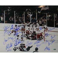 1980 USA Hockey Multi Signed Horizontal 16x20 Photo (20 Sigs) (Comes With Letter Listing Names) #america #miracle #hockey #usa