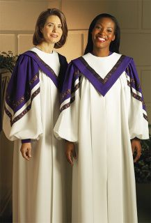 159c2ff5fd The upbeat CADENZA choir robe features twin rows of metallic ribbon trim  paralleling contrasting sleeve chevrons. Available custom tailored in your  choice ...