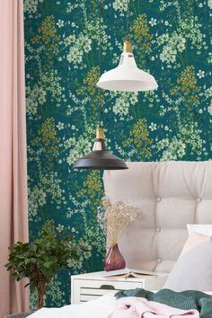 Beautiful Albany wallpaper design called Anaya shown here in teal. #floralwallpaper #floralwallpaperbedroom