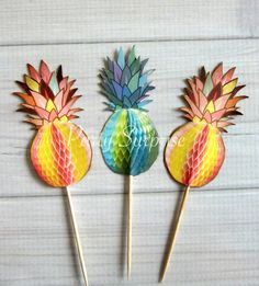 Pineapple Cupcake Toppers Tropical Party Hawaiian Luau Summer Birthday Beach Pool Party Pineapple Party Cupcake Decorations Tropical Party Decorations, Cupcake Decorations, Kids Party Decorations, Pineapple Cupcakes, Nautical Party, Hawaiian Luau, Summer Birthday, Cupcake Party, Woodland Party