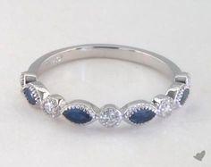 14K White Gold Round Brilliant Diamond and Marquise Sapphire Wedding Ring