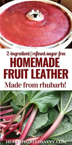 Homemade fruit leather is easy and so much better than store-bought! This recipe uses rhubarb, so you're actually getting in a serving of vegetables! Homemade Fruit Leather, Fruit Leather Recipe, Rhubarb Fruit, Rhubarb Harvest, Real Food Recipes, Yummy Food, Healthy Rhubarb Recipes, Dehydrated Food, Dehydrator Recipes