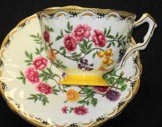 AYNSLEY PINK ROSES YELLOW PURPLE BIRD MUMS TEXTURE TEA CUP AND SAUCER   eBay