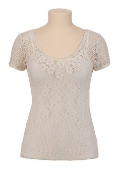 What Would Snow White Wear? A Lace Top with dangling flower details. It reminds me of her fairy tale land dresses.