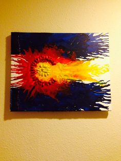 colorado flag crayon art ... inspired by etsy but did it myself !