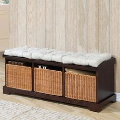 @Overstock - Enhance your home decor with this elegant Hampton storage bench  Stylish piece of furniture is made of sturdy and durable rubberwood  Handsome bench has a dark walnut finishhttp://www.overstock.com/Home-Garden/Hampton-Storage-Bench-w-Baskets/2984059/product.html?CID=214117 $266.29