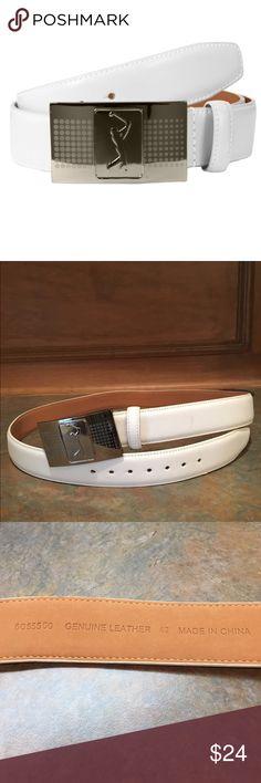 PGA TOUR Men's Leather Belt with Plaque Buckle Like new!  Men's white leather belt with PGA TOUR plaque buckle. PGA Accessories Belts
