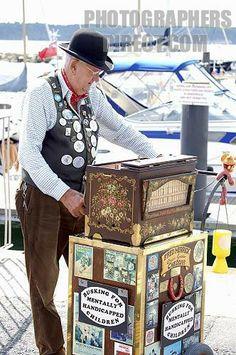 Organ Grinder on Poole Quay stock photo