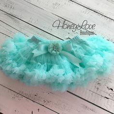 Mint Aqua Pettiskirt, embellished flower bow, tutu, photo shoot special occasion dress, light blue newborn infant baby toddler little girl by HoneyLove Boutique