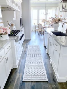 Kitchen Area Rugs, Kitchen Redo, Home Decor Kitchen, Interior Design Kitchen, New Kitchen, Home Kitchens, White Kitchen Designs, White Cabinet Kitchen, Kitchens With White Cabinets