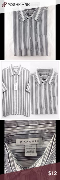 Marquis Short Sleeve Gray Striped Shirt NWT Large New with tags! NWT. Marquis gray and black pin stripe men's short sleeve casual shirt. Perfect with dress pants or jeans. Size:Large 🔹Please ask all questions before you purchase!  🔹No trades or holds 🔹Bundle for best prices. Marquis Shirts Casual Button Down Shirts