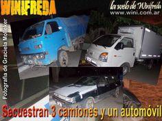 Secuestran 3 camiones y un automóvil