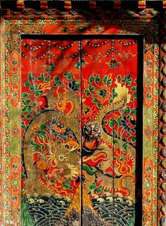 An ornamental door.