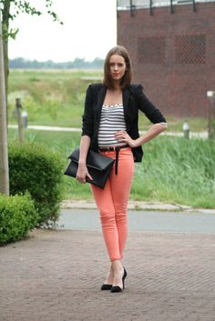 fashion, style, cloth, coral pant, blazer, outfit, peach, stripe, colored jeans