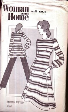 Genuine Vintage 1970s  FUNKY Fit-n-Flare Dress, Smock and Trousers Set Sewing Pattern