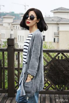 retro shades, B&W striped top, oversized grey cardigan (looks cozy!) and distressed boyfriend jeans