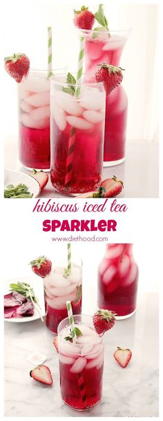 Hibiscus Iced Tea Sparkler - a refreshing and delicious summer-drink made with hibiscus tea and sparkling water Party Drinks, Cocktail Drinks, Fun Drinks, Healthy Drinks, Cold Drinks, Smoothies, Smoothie Drinks, Refreshing Drinks, Summer Drinks