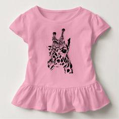 I Love Heart Giraffes Pink Kids T-Shirt