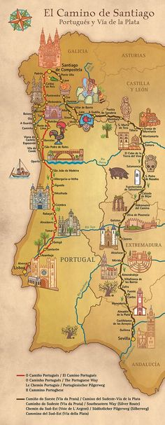 Map showing different routes for the Portuguese Camino de Santiago - Map showing different routes for the Portuguese Camino de Santiago - Spain And Portugal, Portugal Travel, Spain Travel, Camino Trail, The Camino, Travel Maps, Places To Travel, Places To Go, Camino Portuguese