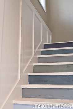 Cool way to dress up some stairs - maybe down to a basement?  Would really brighten things up!