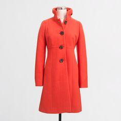 Factory ruffle-collar dress coat : Outerwear | J.Crew Factory