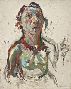 'Selbstporträt expressiv' (1945) by Lassnig. (Courtesy MoMA PS1)