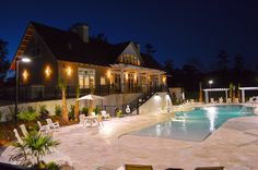 Pool and Clubhouse at Night