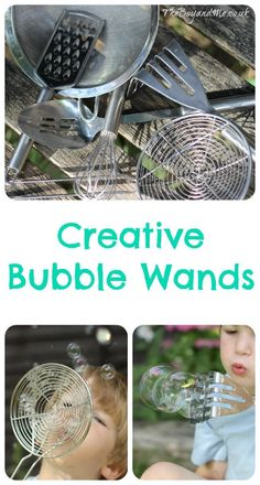 Creative Bubble Wands: Using kitchen utensils to test the best creative bubble wands. Bubble Activities, Outdoor Activities For Kids, Toddler Activities, Outdoor Games, Literacy Activities, Giant Bubble Wands, Giant Bubbles, Homemade Bubble Wands, Blowing Bubbles