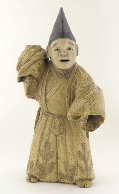 Figure of Kyogen performer in role of Sambaso    Edo period, 1840-1860.  Stoneware with wood-ash, iron, and clear glazes.  Rakurakuen ware